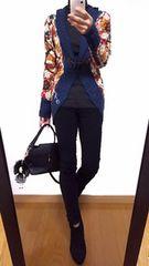【美品】Desigual/デシグアル◆定価19900円◆総刺繍柄◆ニットカーデ