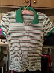 UNIQLOにて購入サイズL緑系ボーダー半袖ポロシャツ