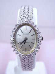 TISSOT ティソ 750 K18WG ダイヤモンド 手巻き 腕時計 女性用★dot