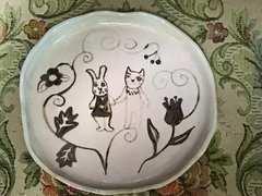 手作りハンドメイド陶器★ネコ&ウサギ★童話アンティーク絵皿