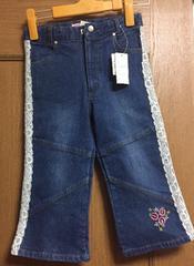 新品☆140cm可愛いレース花柄刺繍デニムカプリパンツ