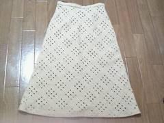 淡いベージュデザインロングスカート
