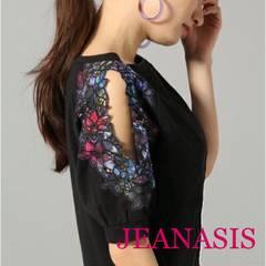 定価5,400円【美品】JEANASIS フラワーカットソー Blackブラック