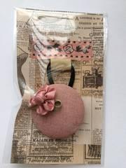 ハンドメイド ヘアゴム 特大 くるみボタン リネン ピンク お花