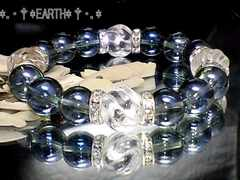 天然石★14ミリ螺旋彫り水晶・12ミリブルーオーラクリスタル数珠