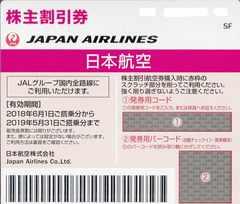 JAL株主優待券2枚売り。期限31年5月31日