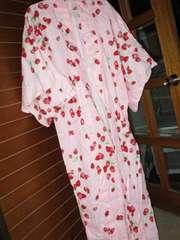 総イチゴ模様×ライトピンク*レディース浴衣*ラメ