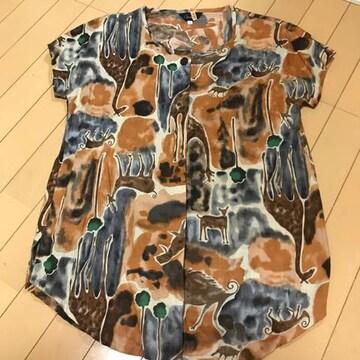 アニマル柄 半袖チュニックブラウス コットン ゆったり9号 L XL