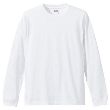 5.6オンス ロングスリーブTシャツ(1.6インチリブ)ホワイト XL