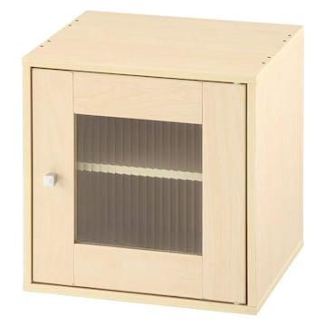 キューブボックス 扉付き 木製 収納ラック ガラス扉NA