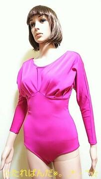 極美品☆Chacott☆光沢ピンクの衣装レオタード2915☆3点で即落☆