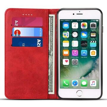 iPhone7 ケース 手帳型 横置きスタンド レッド