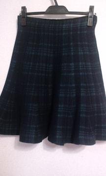 ローズバッド☆チェックフレアニットスカート
