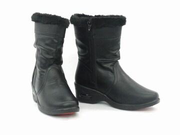 ミドル丈ブーツ 9390 ブラック Mサイズ 防水 防寒 防滑 ボア付き