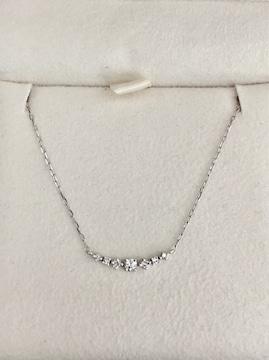 4℃ ダイヤモンド ライン ネックレス K18WG 1.1g