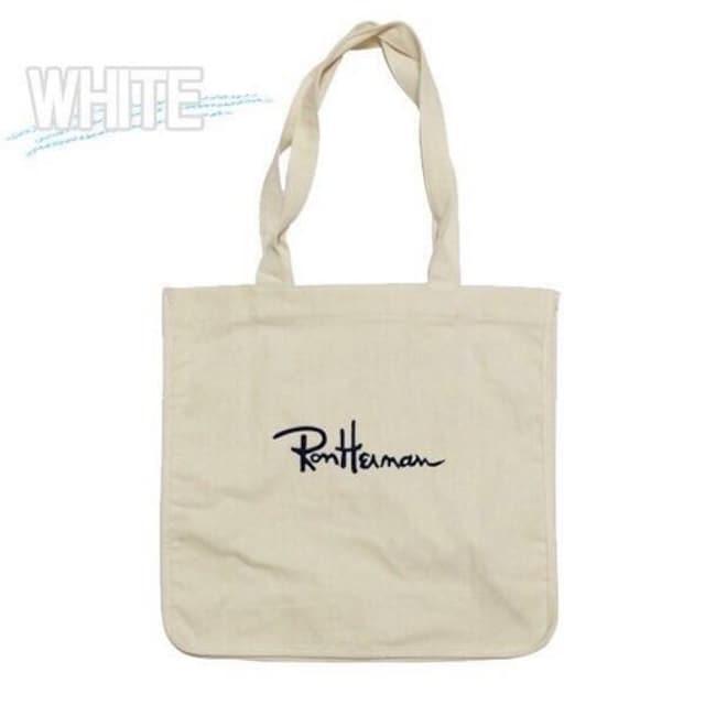 白●Ron Hermanロンハーマン●ロゴ入りトートバッグ エコバッグ < ブランドの