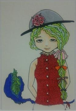 オリジナルイラスト手描きイラストハンドメイド自作プレゼントフォーユー絵植物女の子原画