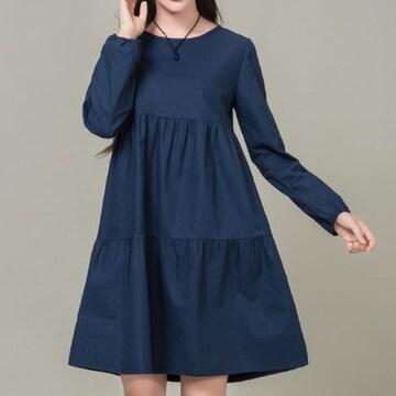 送料無料:かわいい ゆったり着る Aラインワンピース  E18