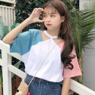 L,LLXL/新品☆バイカラーチョーカーネックTシャツ