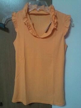 オレンジタンク型フリルシャツ綿百!国産40サイズ表記M7〜9号