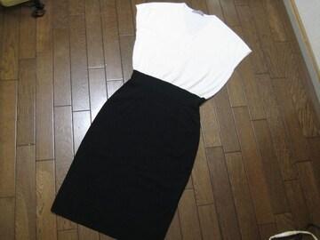 〇セオリーリュクス○ニットワンピースバイカラー 白黒38