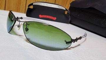 正規レア hyde着 同型同色 クロムハーツ クロス×ドラッグパイプ1サングラス緑 黒系