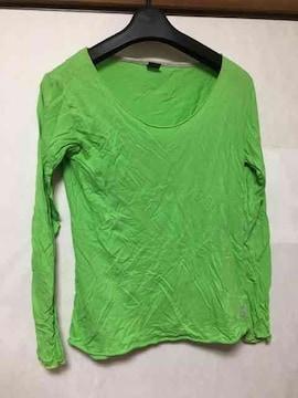 ロンT/長袖/蛍光/黄緑/Tシャツ/M/グリーン