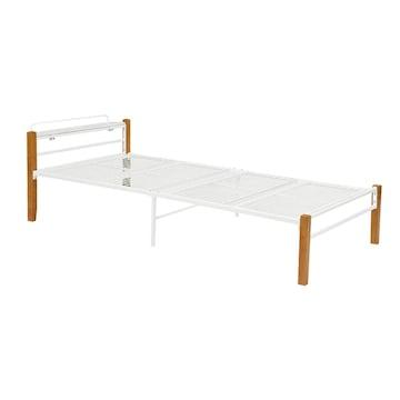 宮棚付きシングルベッド(ナチュラルホワイト) KH-3087WHS