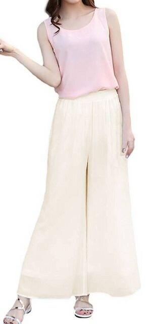 ゆったり シフォン★ スカーチョ★ワイド パンツ (XLサイズ赤 < 女性ファッションの