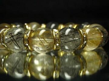 厳選ブレス!!ゴールドルチルXブラックルチル14ミリ数珠