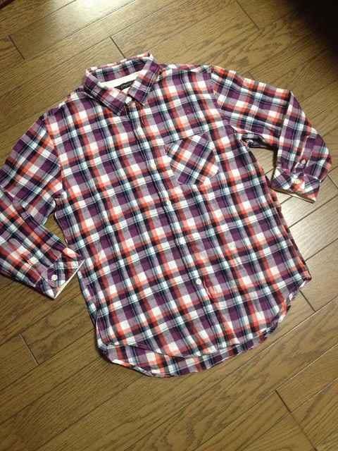 美品RAGEBLUE  7分丈チェックシャツ  レイジブルー  < ブランドの