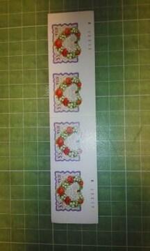アメリカ花・ハート切手55c×4枚♪