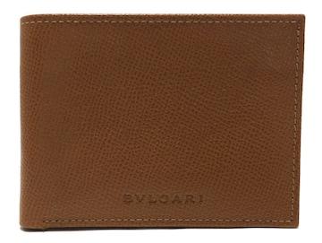 未使用正規ブルガリ二つ折り札入財布カードケース型押しレ