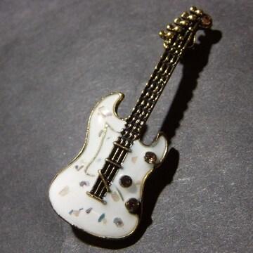 送料無料 エレキギター ブローチ ピンバッジ ラペルピン 白色