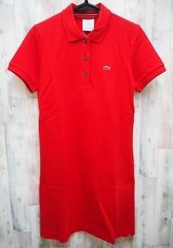 LACOSTE ラコステ 半袖 ポロシャツ ワンピース L 赤