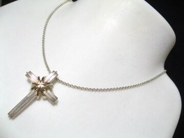ティファニー18金とシルバー最高のデザイン十字架クロス.セクシーで高貴な極上ネックレス