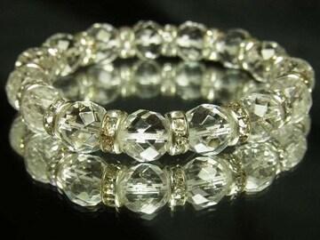 開運天然石??ダイヤカット水晶10mm数珠ブレスレット!邪気を払う