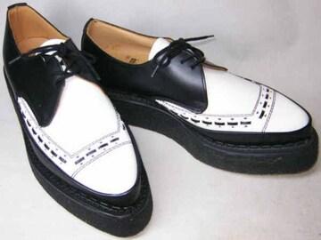英国トンガリ靴 ジョージコックス5289黒白uk7