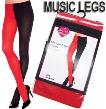 AA6)MUSICLEGS2トーン配色オペークタイツ赤黒コスプレ衣装ダンスダンサーパーティー