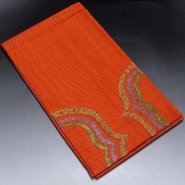 【袋帯】正絹 朱色地 カラフルな刺繍柄入り