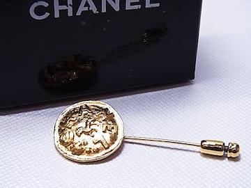 CHANEL シャネル ロゴ ホース ヴィンテージ ピンブローチ 美品 e196★dot