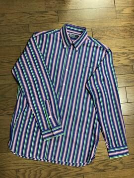 ポロバイラルフローレンマルチストライプボタンダウンシャツ男性