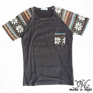 幾何学 エスニック ラグラン Tシャツ TEE 半袖 ブラック 48XL