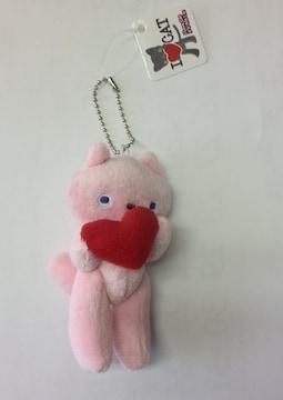 新品☆I  Love Cat (ネコ*ねこ)ぬいぐるみBCキーホルダー ピンク 値下げ