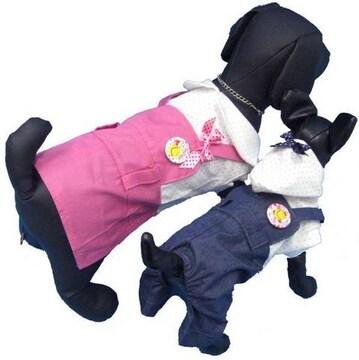 j05)XLサイズ!バッジ付ワンピースつなぎピンク犬服セレブ