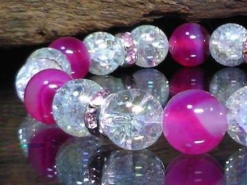 ピンクストライプアゲート§オーラクラック§ピンクロンデル数珠