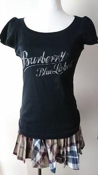 美品★バーバリー★Tシャツ★フリル袖★黒★正規品★ブルーレーベル★38