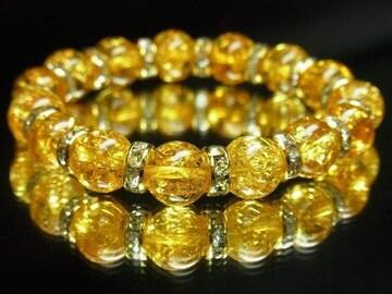 金運を引き寄せるパワーストーン シトリンクラックブレスレット 10ミリ数珠