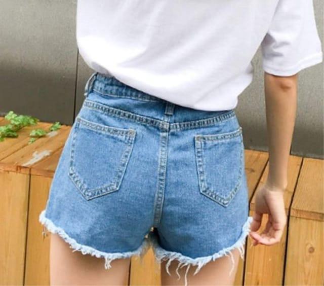 ヴィンテージ風 デニムショートパンツ(M寸・青) < 女性ファッションの