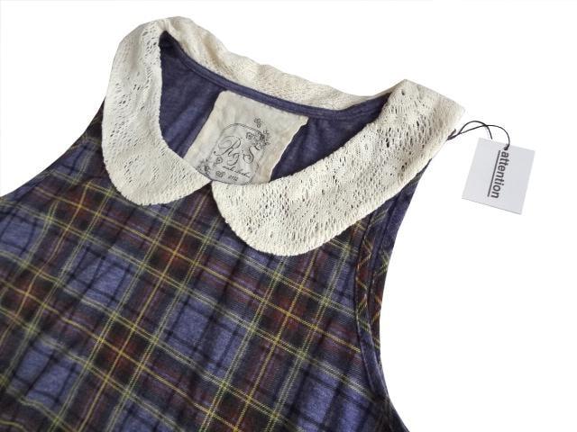 新品 リベット&サージ レース衿付き チェック タンクトップ < ブランドの
